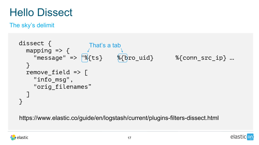 """17 dissect { mapping => { """"message"""" => """"%{ts} %..."""