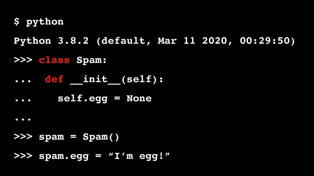 $ python Python 3.8.2 (default, Mar 11 2020, 00...