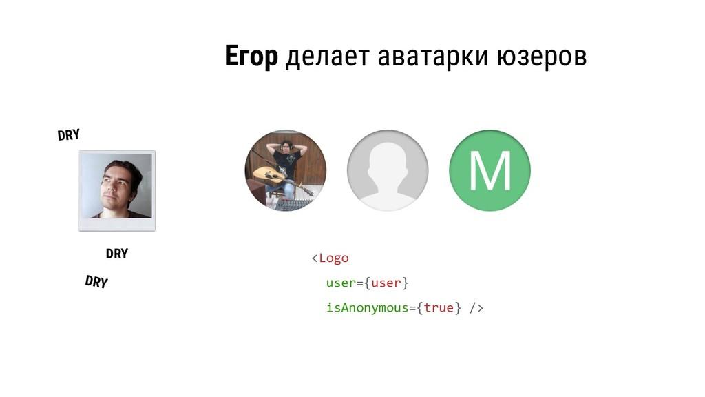 Егор делает аватарки юзеров <Logo user={user} i...