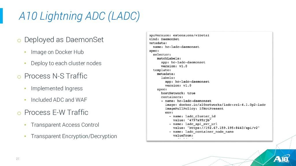 27. A10 Lightning ADC (LADC) o Deployed as Daem...