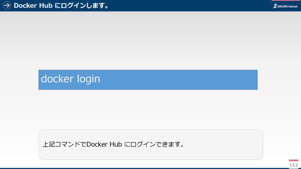 Docker Hub にログインします。 112 上記コマンドでDocker Hub にログイ...