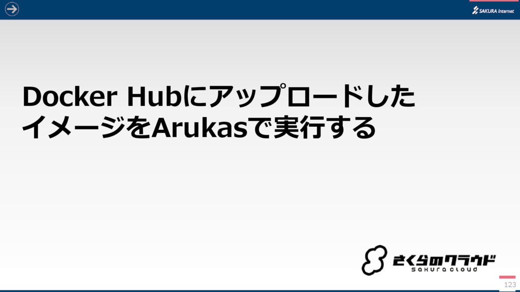 Docker Hubにアップロードした イメージをArukasで実行する 123