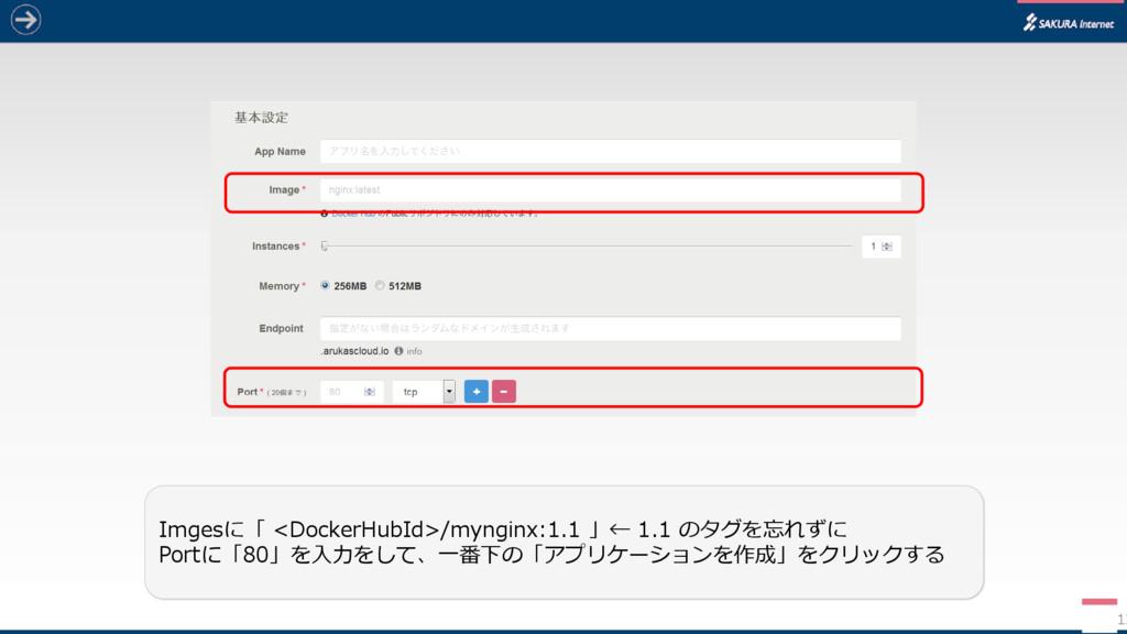 12 Imgesに「 <DockerHubId>/mynginx:1.1 」← 1.1 のタグ...
