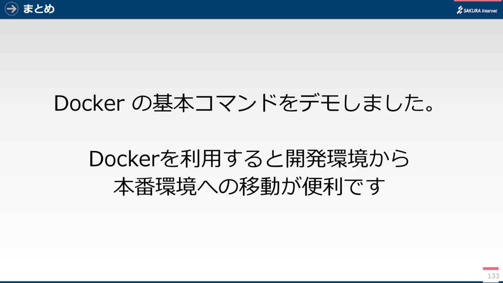 まとめ Docker の基本コマンドをデモしました。 Dockerを利用すると開発環境から 本...