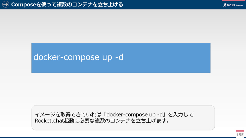 Composeを使って複数のコンテナを立ち上げる 155 イメージを取得できていれば「dock...