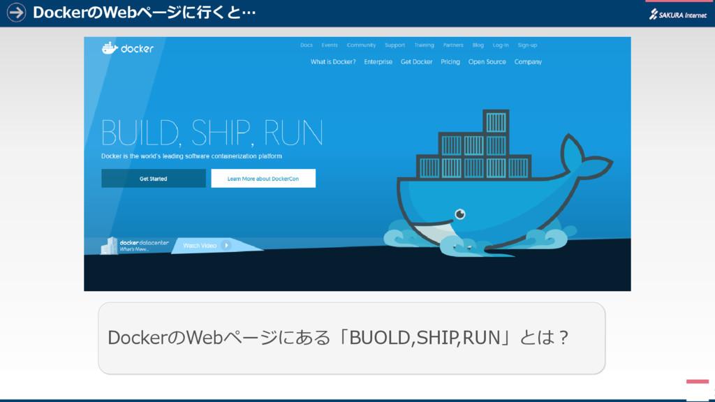 DockerのWebページに行くと… 2 DockerのWebページにある「BUOLD,SHI...