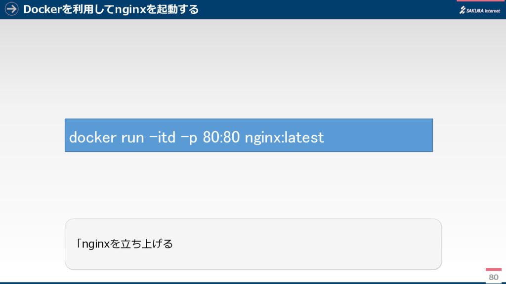 Dockerを利用してnginxを起動する 80 「nginxを立ち上げる docker ru...