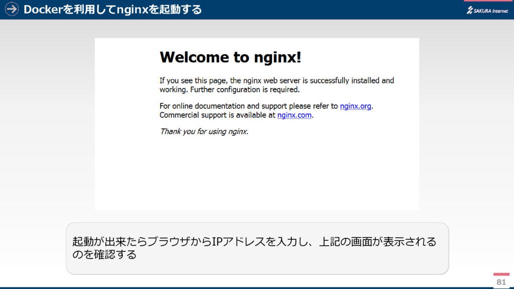 Dockerを利用してnginxを起動する 81 起動が出来たらブラウザからIPアドレスを入力...