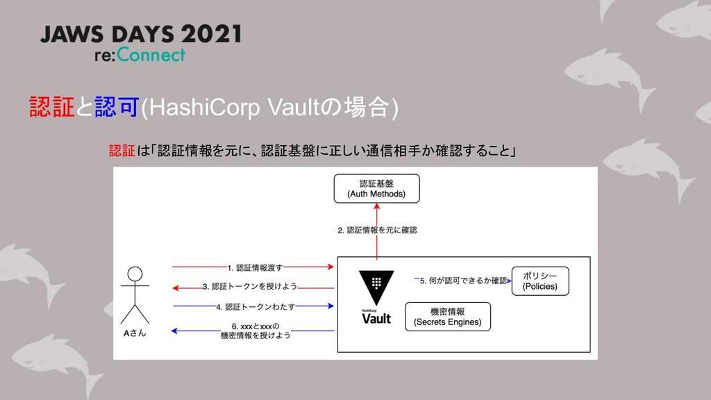 認証と認可(HashiCorp Vaultの場合) 認証は「認証情報を元に、認証基盤に正しい通...