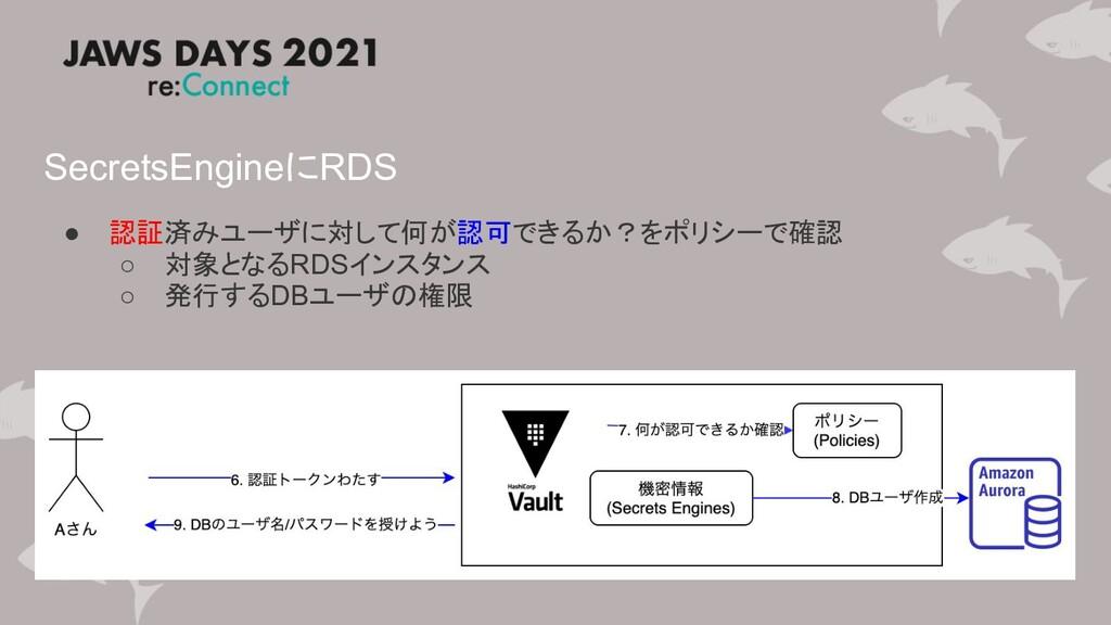 SecretsEngineにRDS ● 認証済みユーザに対して何が認可できるか?をポリシーで確...