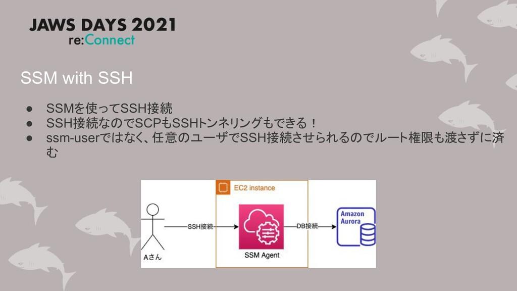 SSM with SSH ● SSMを使ってSSH接続 ● SSH接続なのでSCPもSSHトン...