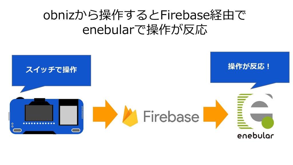 obnizから操作するとFirebase経由で enebularで操作が反応 スイッチで操作 ...