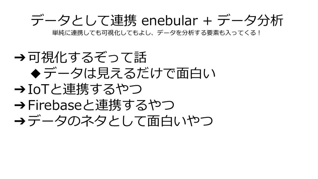 データとして連携 enebular + データ分析 単純に連携しても可視化してもよし、データを...