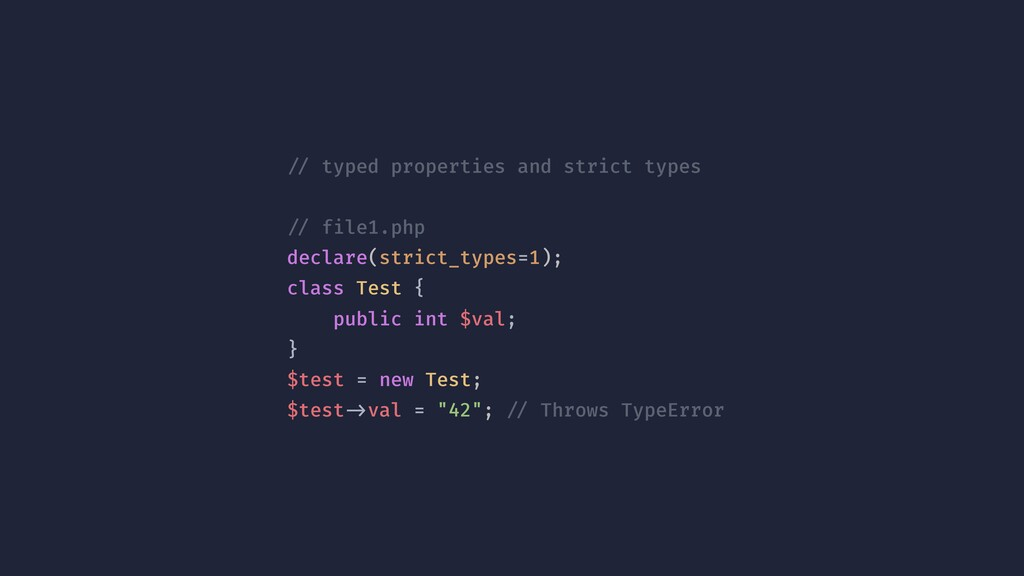 !// typed properties and strict types !// file1...