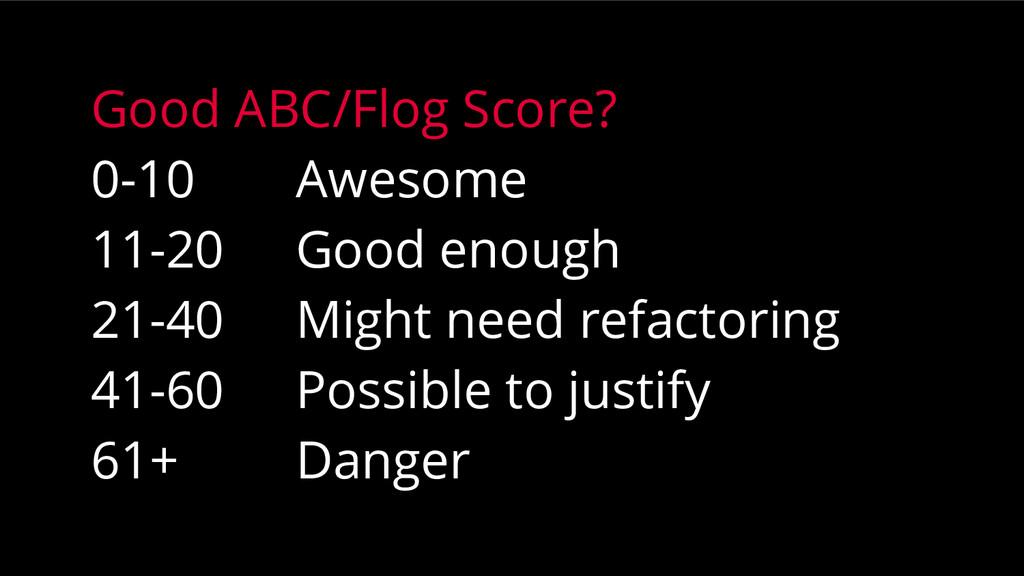 Good ABC/Flog Score? 0-10 Awesome 11-20 Good en...