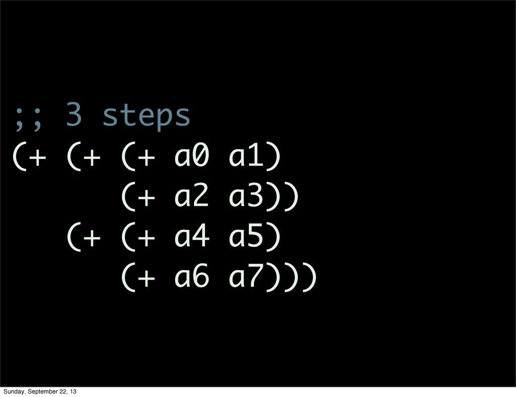 ;; 3 steps (+ (+ (+ a0 a1) (+ a2 a3)) (+ (+ a4 ...