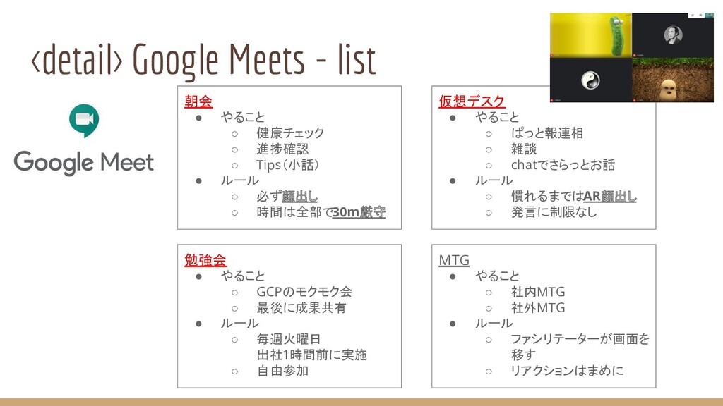<detail> Google Meets - list 朝会 ● やること ○ 健康チェック...