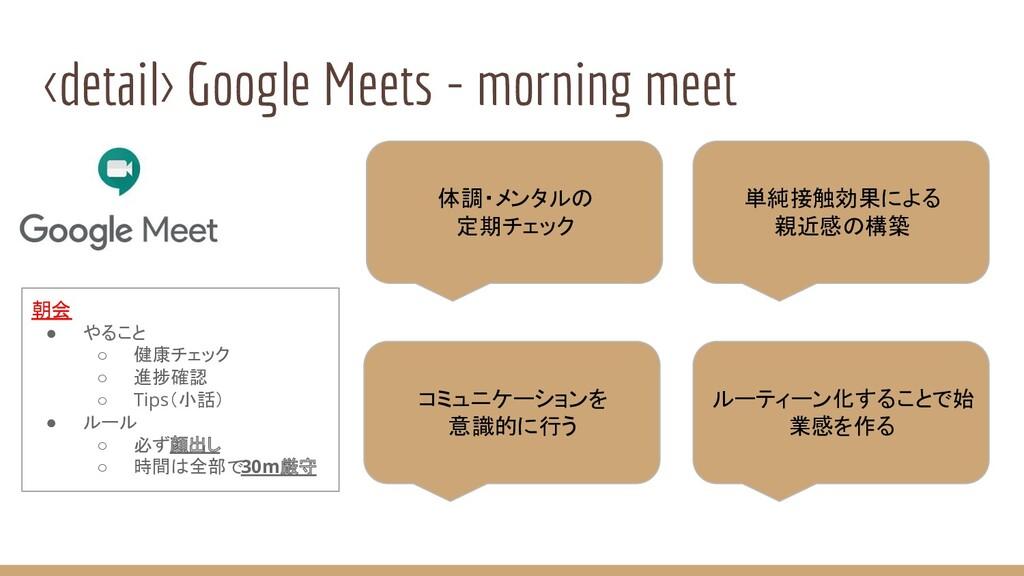 <detail> Google Meets - morning meet 朝会 ● やること ...