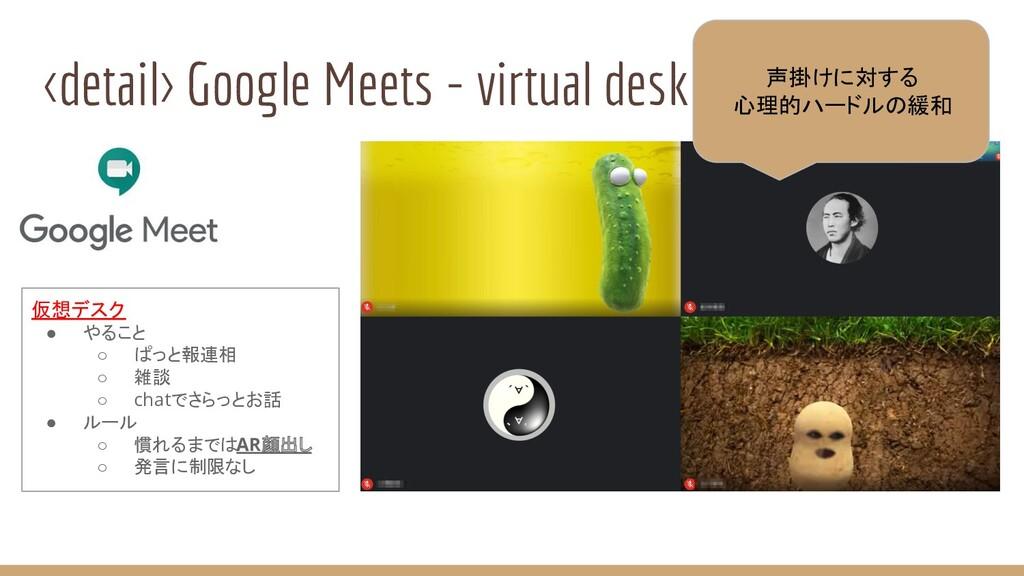 <detail> Google Meets - virtual desk 仮想デスク ● やる...