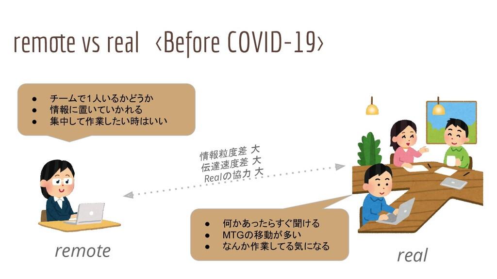 remote vs real <Before COVID-19> remote real ● ...