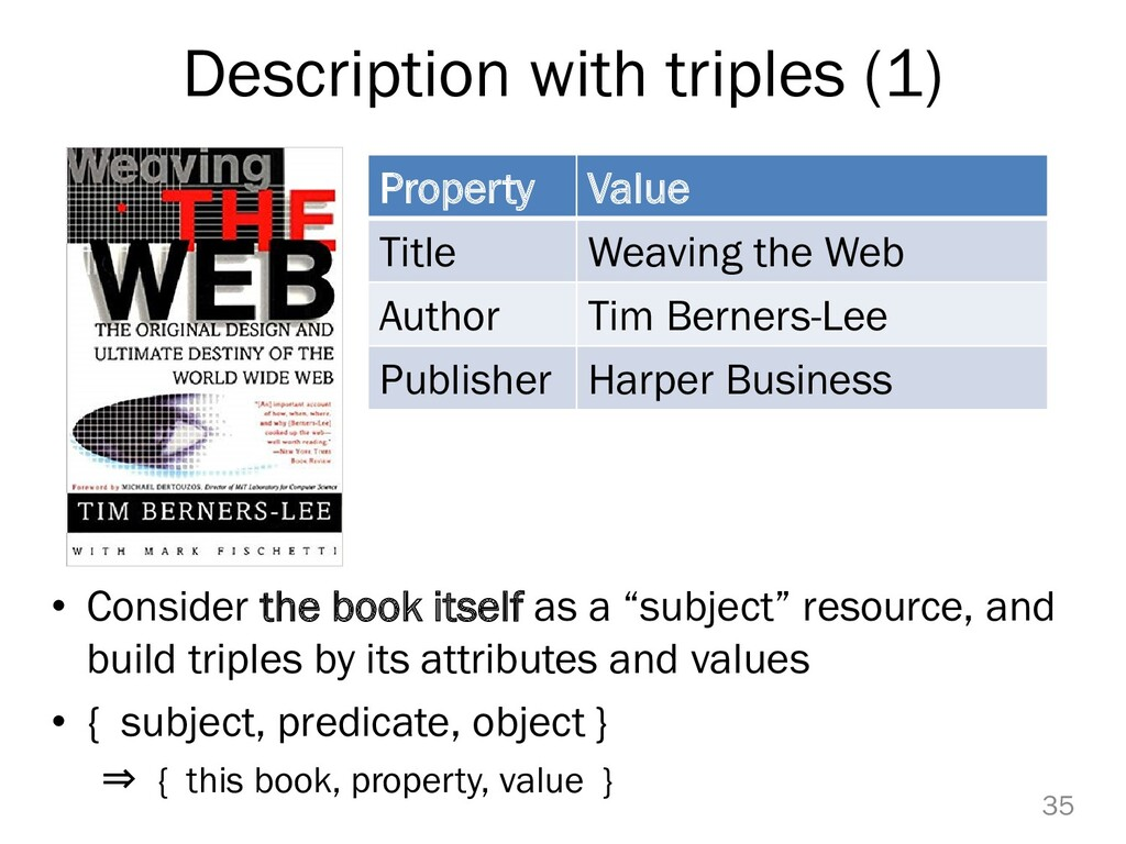 Description with triples (1) • Consider the boo...