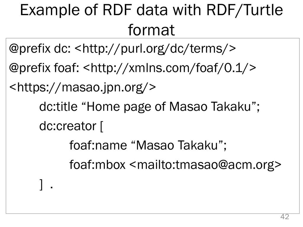 Example of RDF data with RDF/Turtle format @pre...