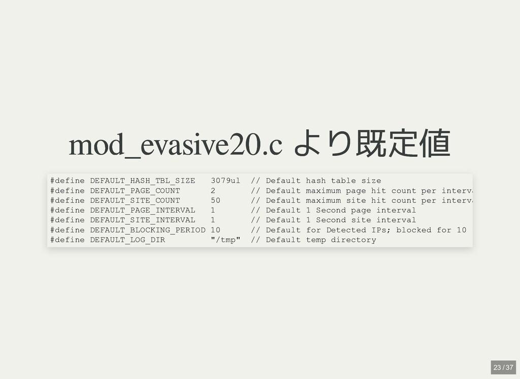 mod_evasive20.c より既定値 mod_evasive20.c より既定値 #de...