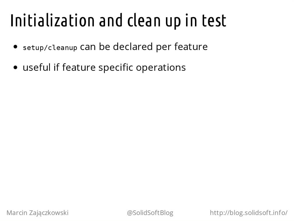 Initialization and clean up in test s e t u p /...