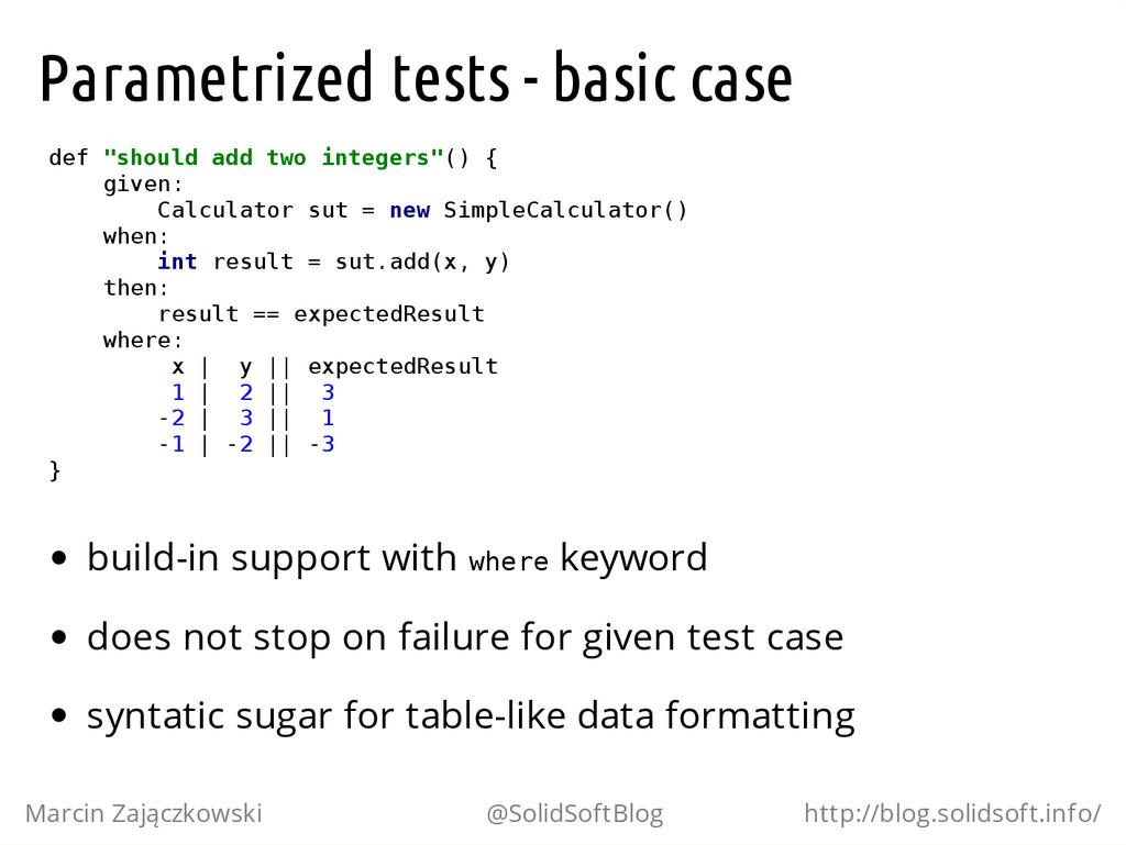 "Parametrized tests - basic case d e f "" s h o u..."