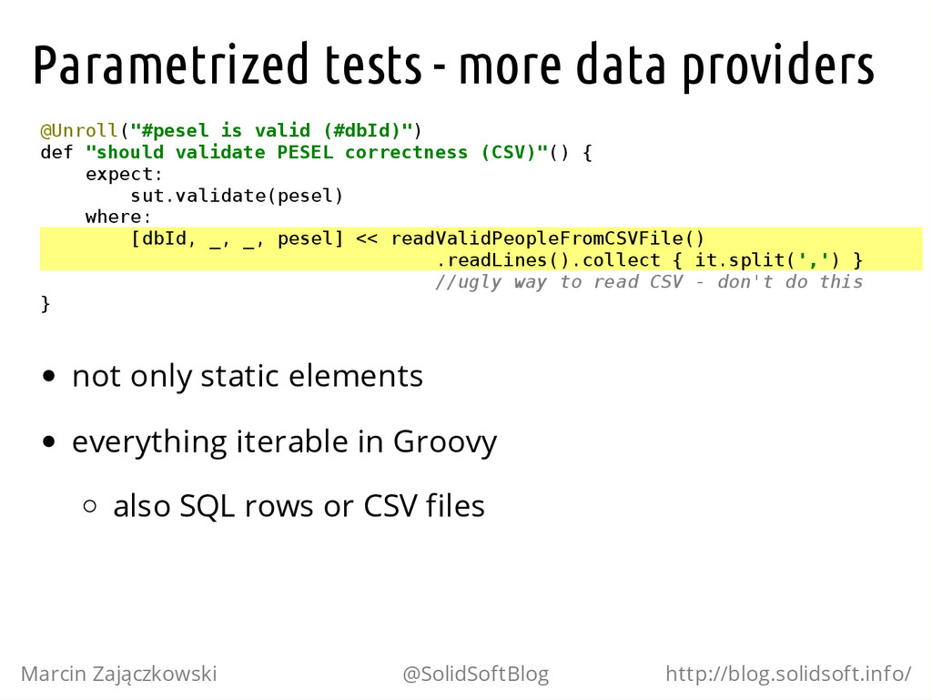 Parametrized tests - more data providers @ U n ...