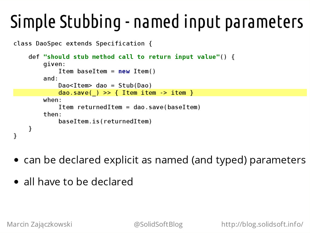 Simple Stubbing - named input parameters c l a ...