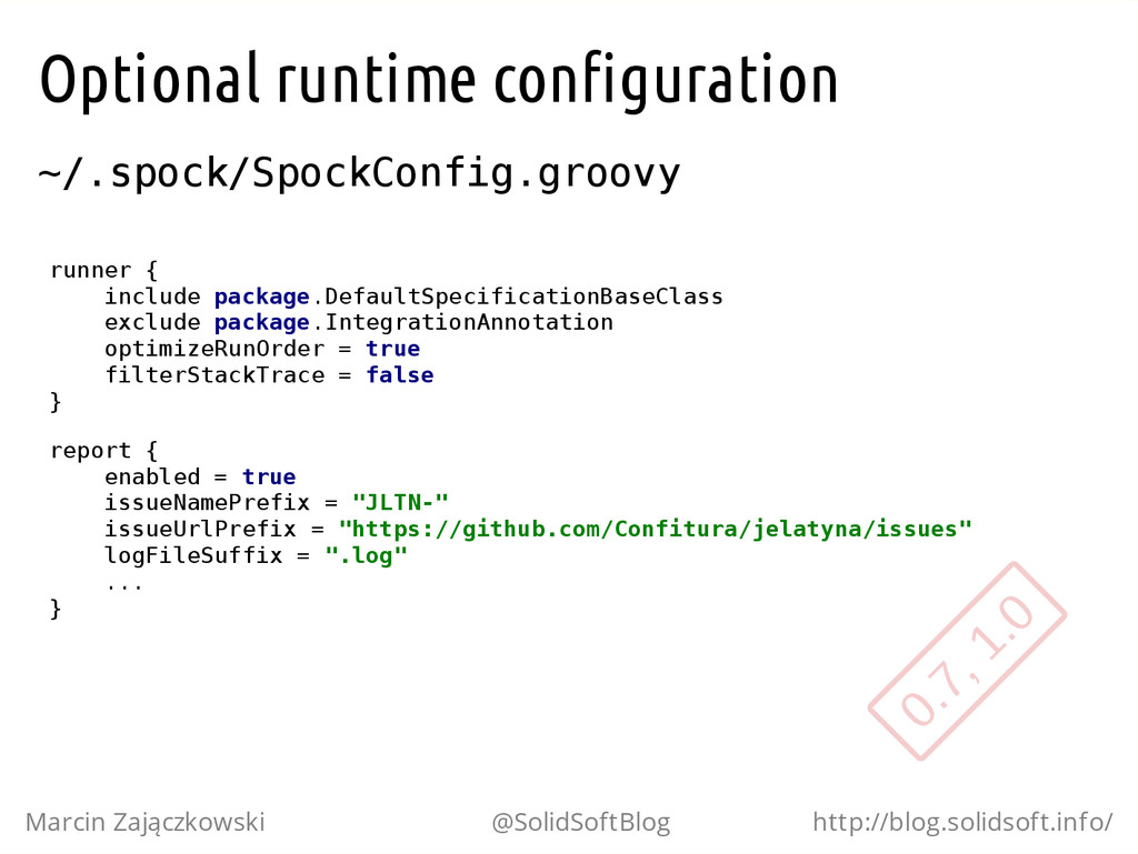 Optional runtime configuration ~ / . s p o c k ...