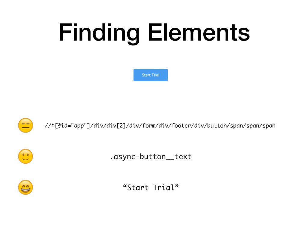 """Finding Elements .async-button__text """"Start Tri..."""