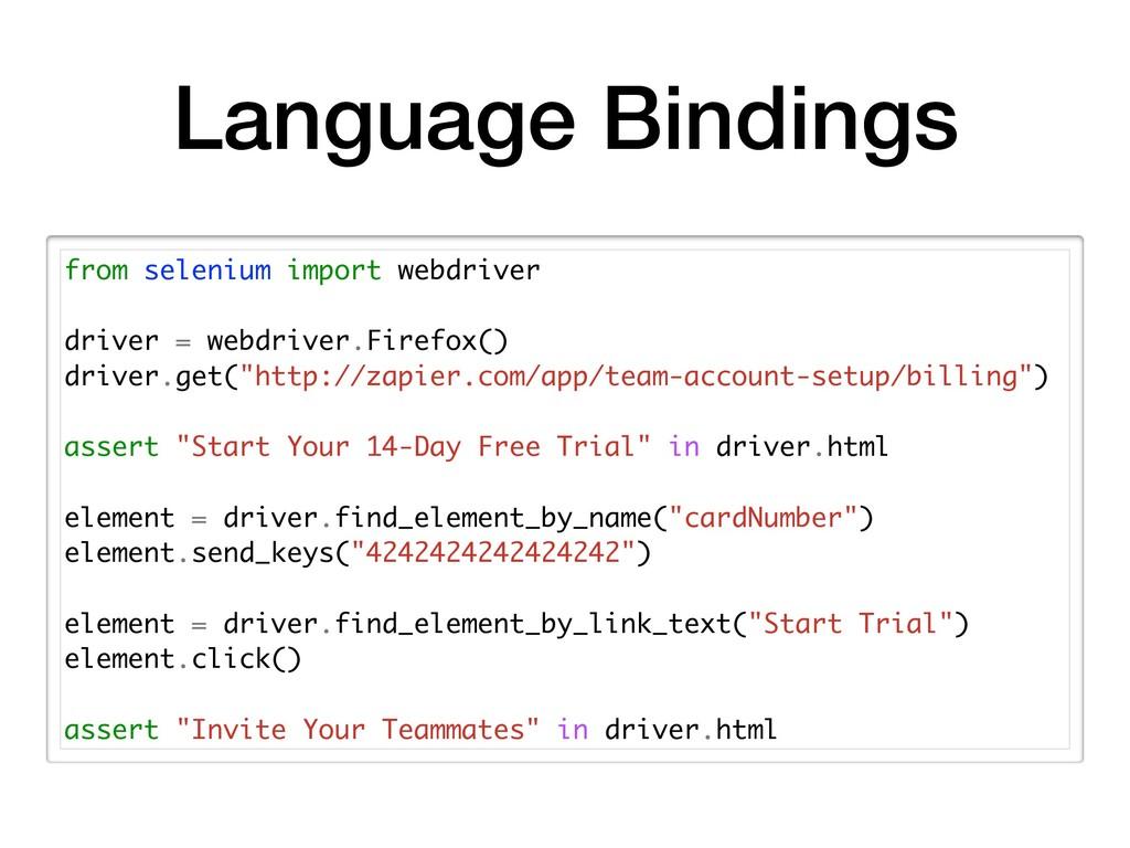 Language Bindings from selenium import webdrive...