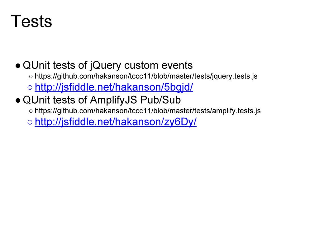 Tests ●QUnit tests of jQuery custom events ○ ht...