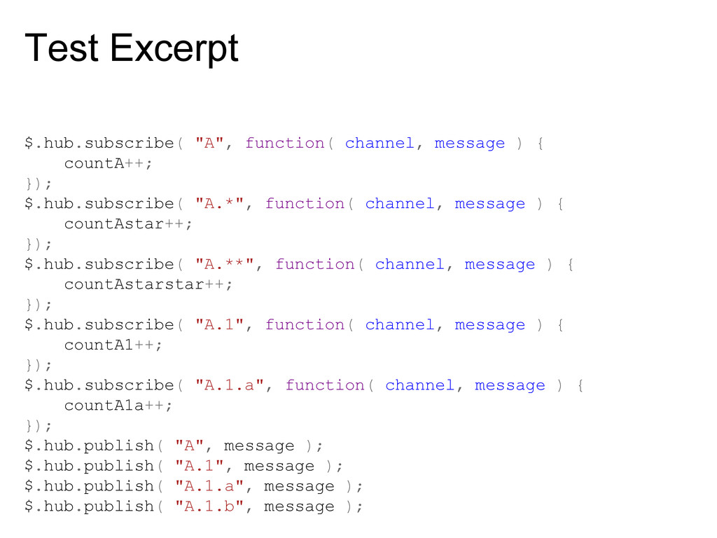 """Test Excerpt $.hub.subscribe( """"A"""", function( ch..."""