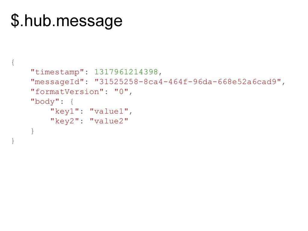 "$.hub.message { ""timestamp"": 1317961214398, ""me..."