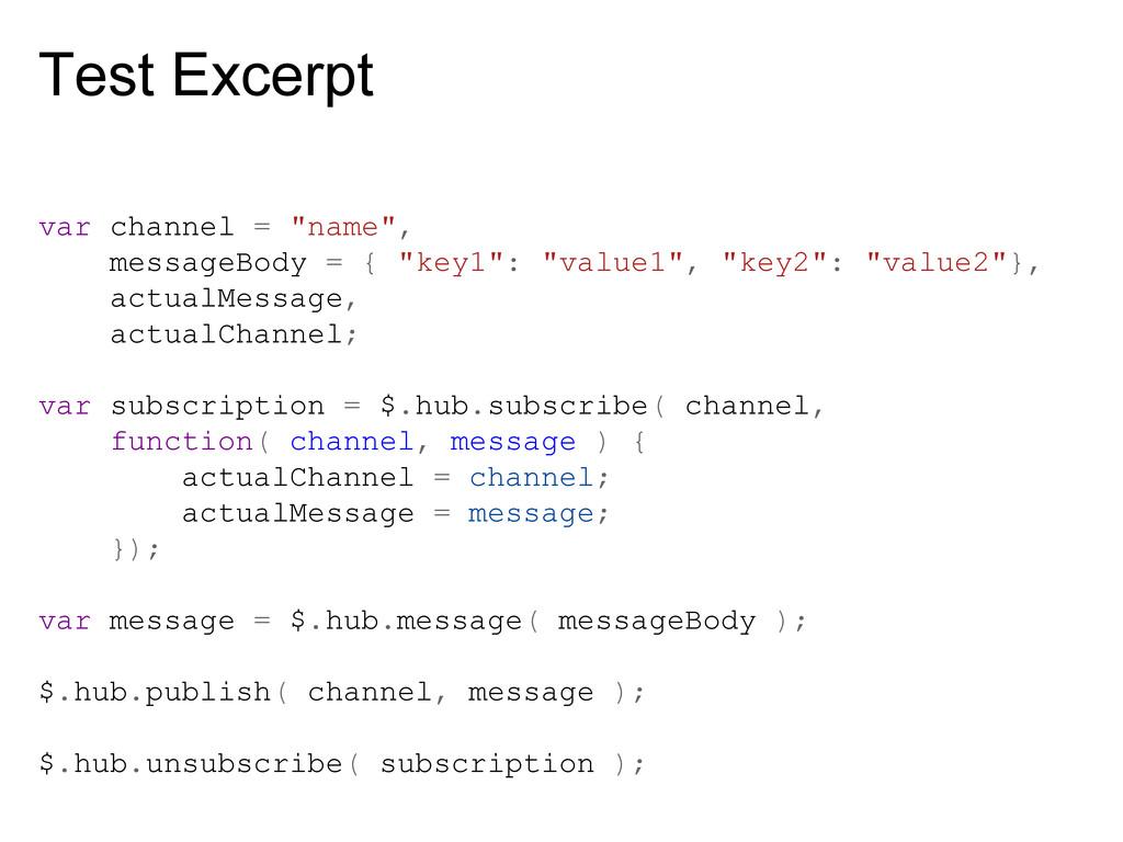 "Test Excerpt var channel = ""name"", messageBody ..."