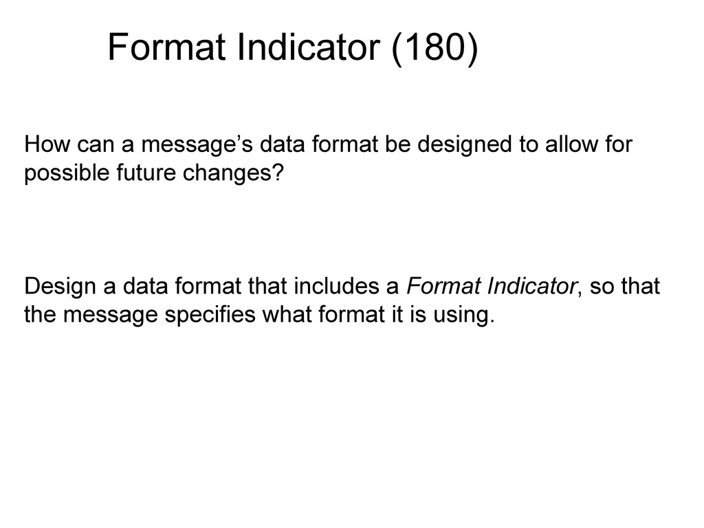 Format Indicator (180) How can a message's data...