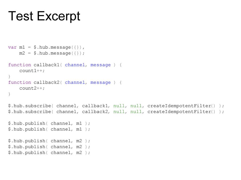Test Excerpt var m1 = $.hub.message({}), m2 = $...