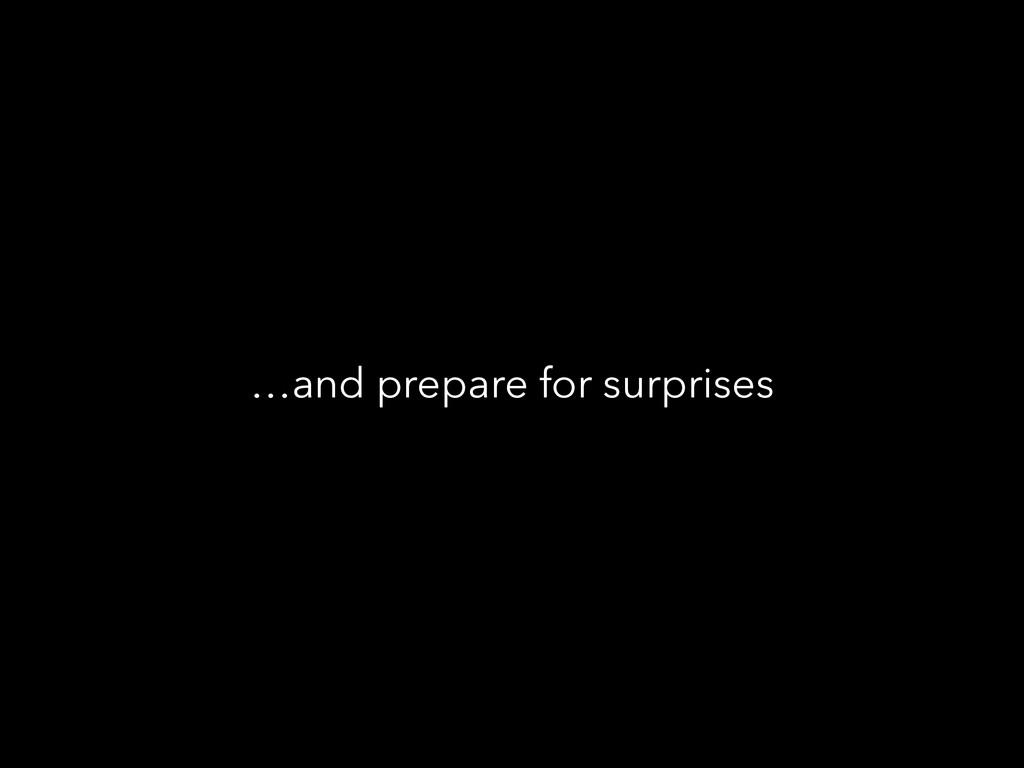 …and prepare for surprises