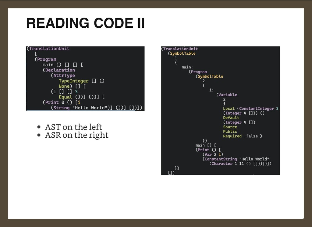 READING CODE II AST on the left ASR on the righ...