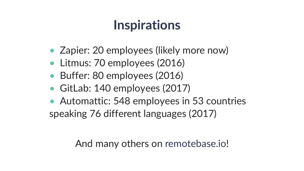 Inspirations • Zapier: 20 employees (likely mor...