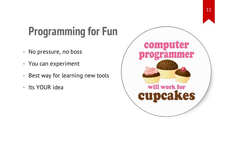 Programming for Fun • No pressure, no boss • Yo...
