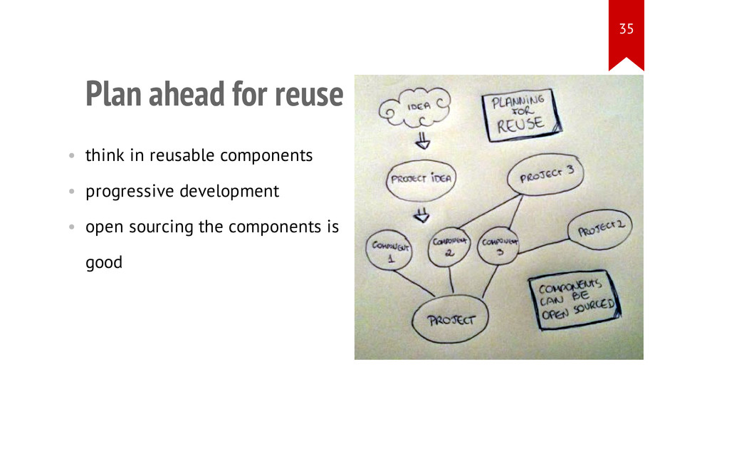 Plan ahead for reuse • think in reusable compon...