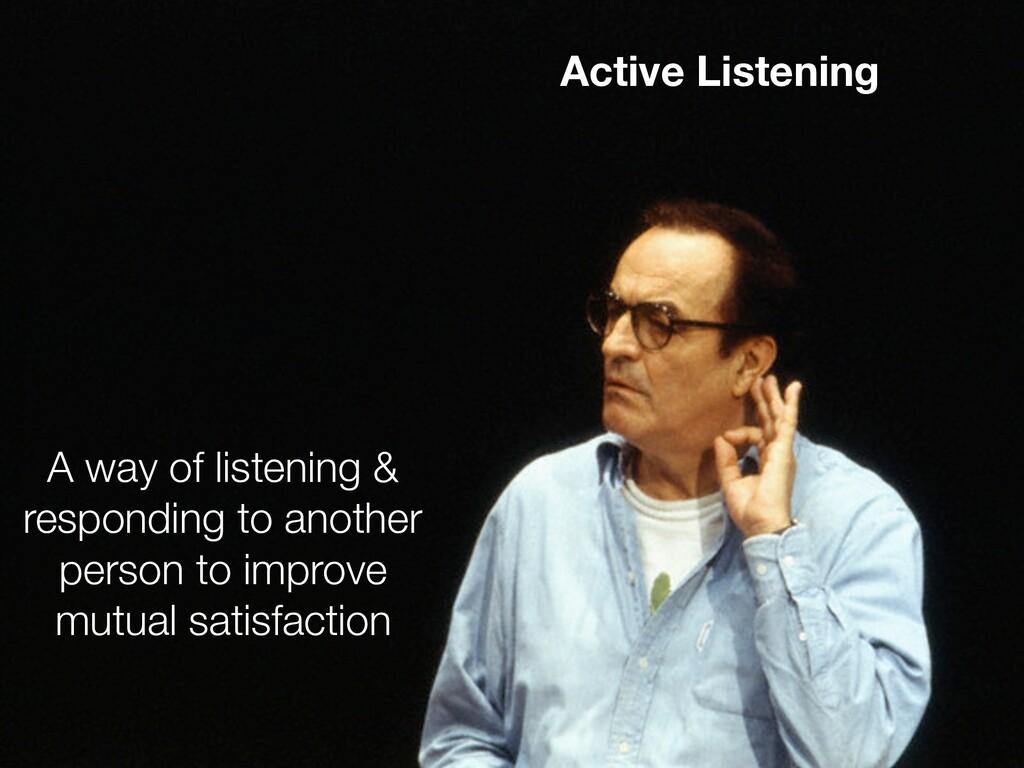 Active Listening A way of listening & respondin...