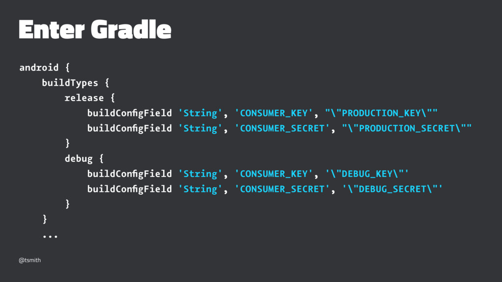 Enter Gradle android { buildTypes { release { b...