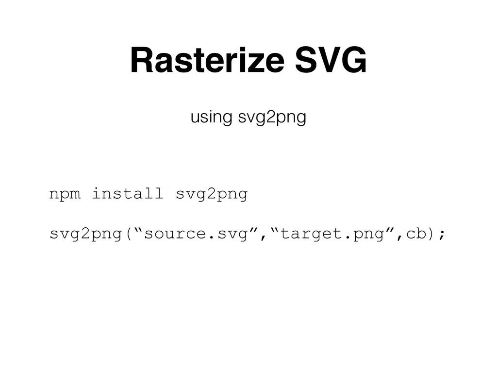 """Rasterize SVG npm install svg2png svg2png(""""sour..."""
