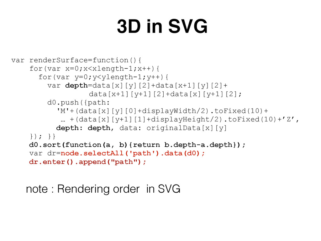 var renderSurface=function(){ for(var x=0;x<xle...
