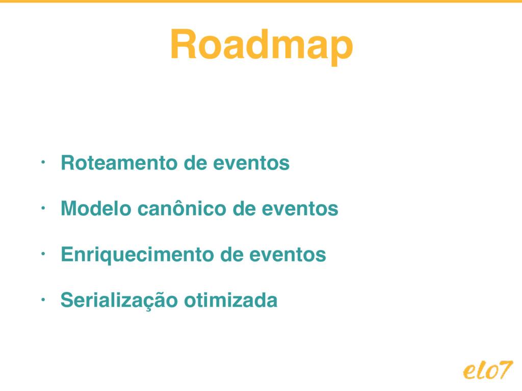 Roadmap • Roteamento de eventos • Modelo canôni...
